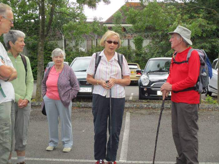 We start to gather round for Enid's walk. (Peg has only come for the coffee!)