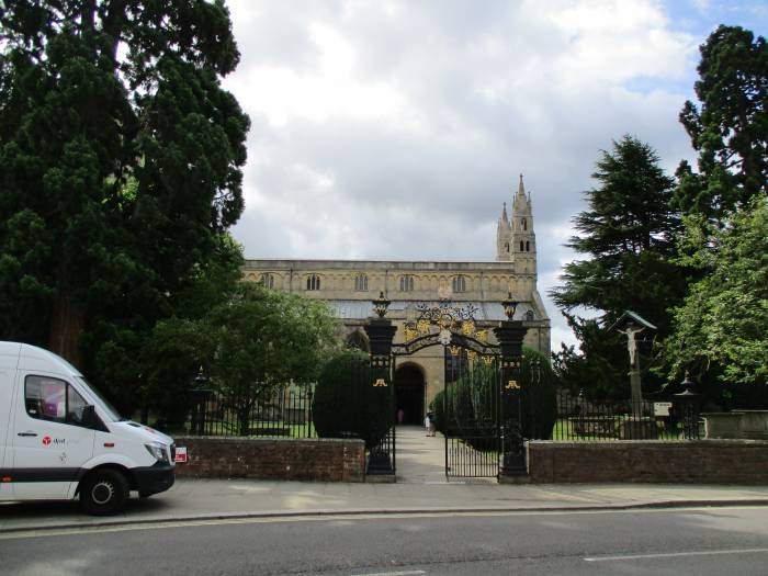 We walk past the front of the Abbey