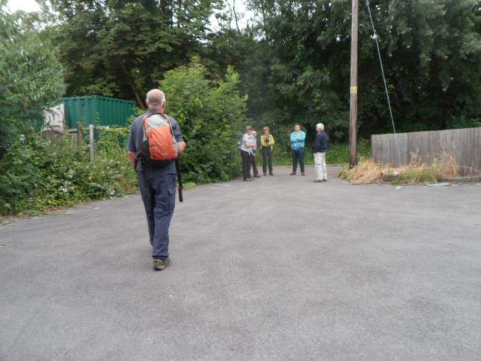 Competing with football and tennis. A small but select group assemble in the Ship Inn car park for Ann's walk
