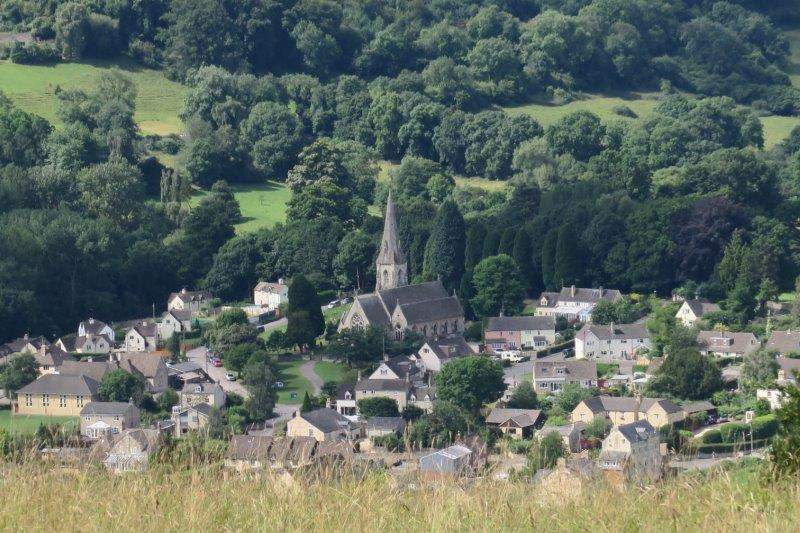 Woodchester Church nestling in the valley