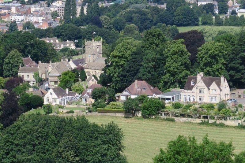 Looking down on Rodborough Church
