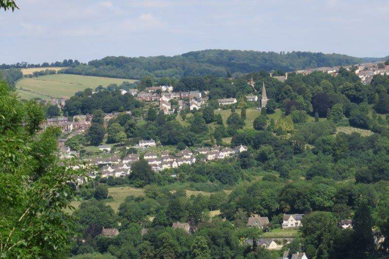 The view across to Brimscombe Church