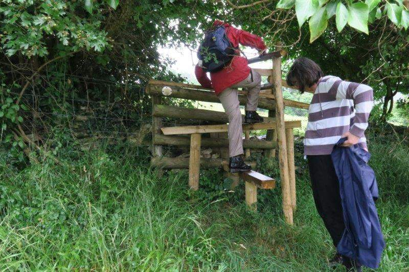 A new stile. Installed by the landowners after some hard work by Bernard