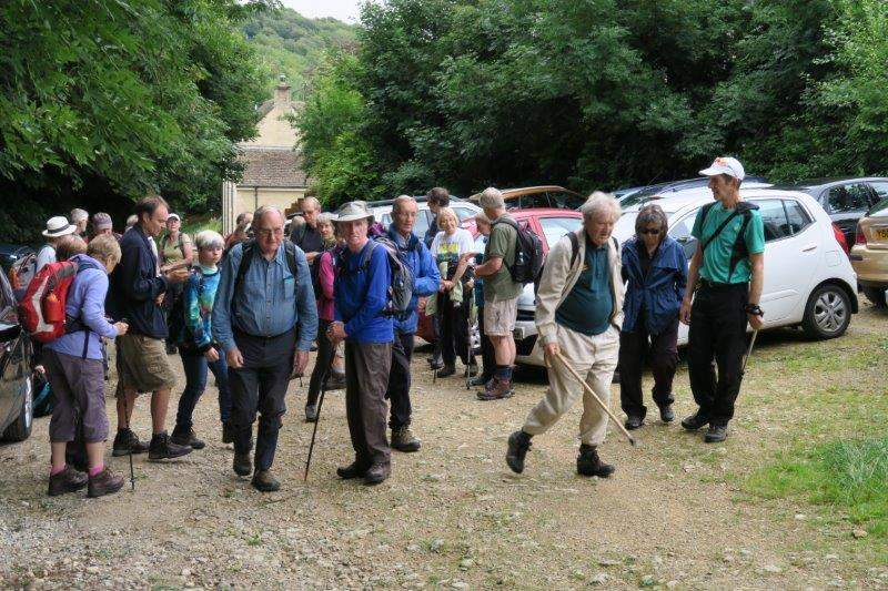 Thirty three stalwarts follow Graham from the Black Horse car Park at Cranham