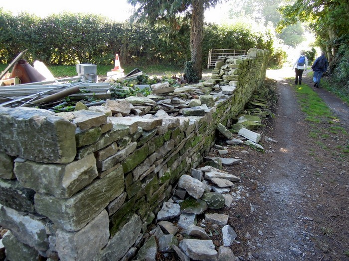 We set off, passing this stone walling, and wonder if it is being repaired or demolished.