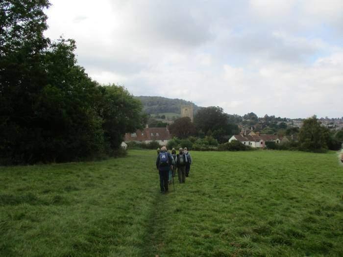 Across fields into Cam