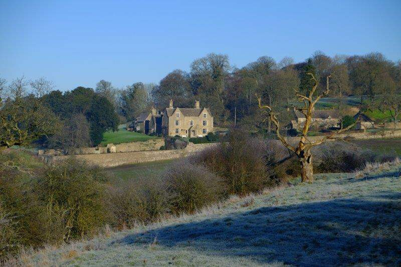 Now looking across frosty fields to Pinbury Park House
