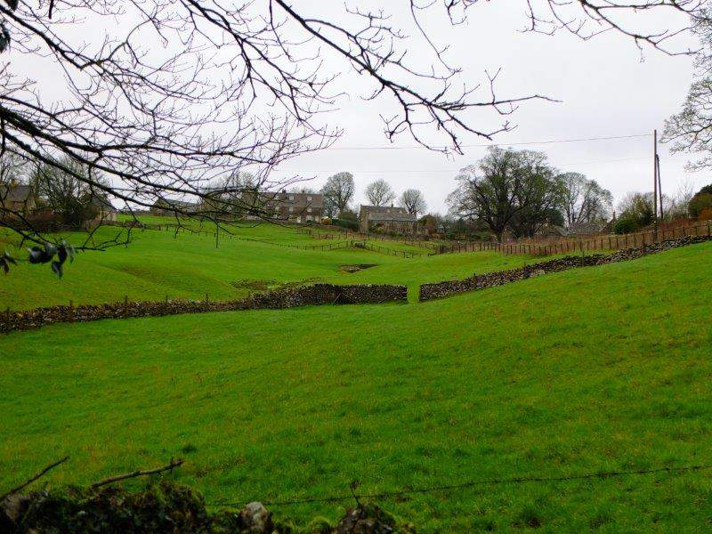 Looking across fields to the village