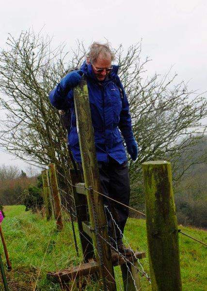 A slippery stile requires a bit of care