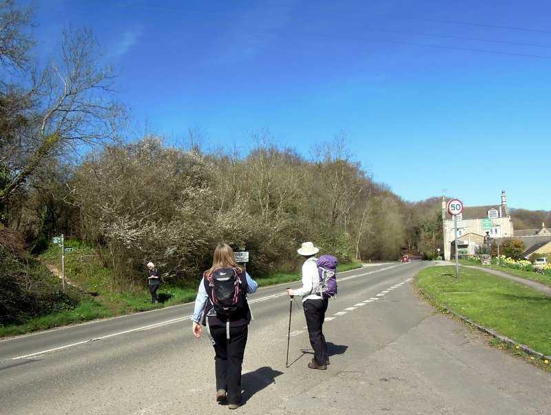 Jill watches us across the Stroud - Gloucester road near the Edgemoor Inn