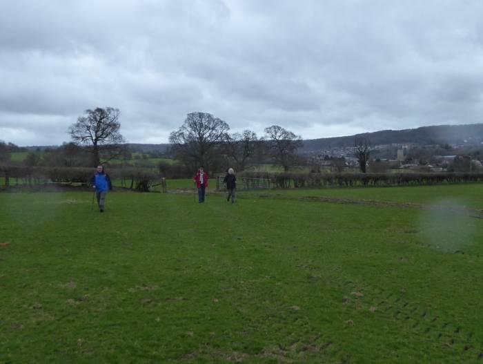 We head back over the fields to Coaley before the rain sets in