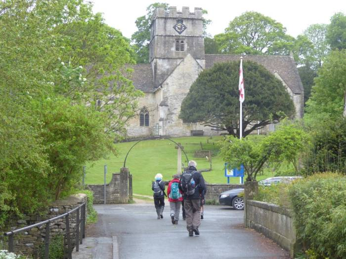 We head off from Avening past the church.