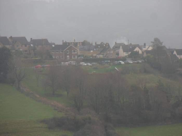 Whiteshill Village Car Park across the valley