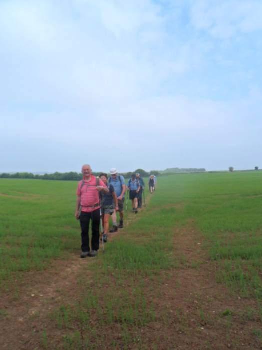 A procession through a flat field