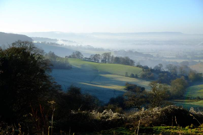 With views down into the valley shrouded in mist