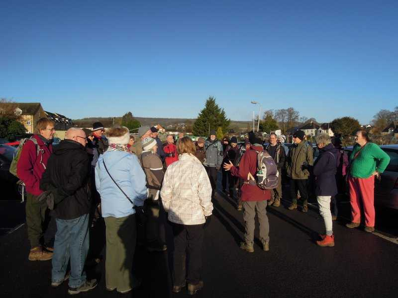 Ann addresses 47 keen New Year walkers on a brilliantly sunny morning
