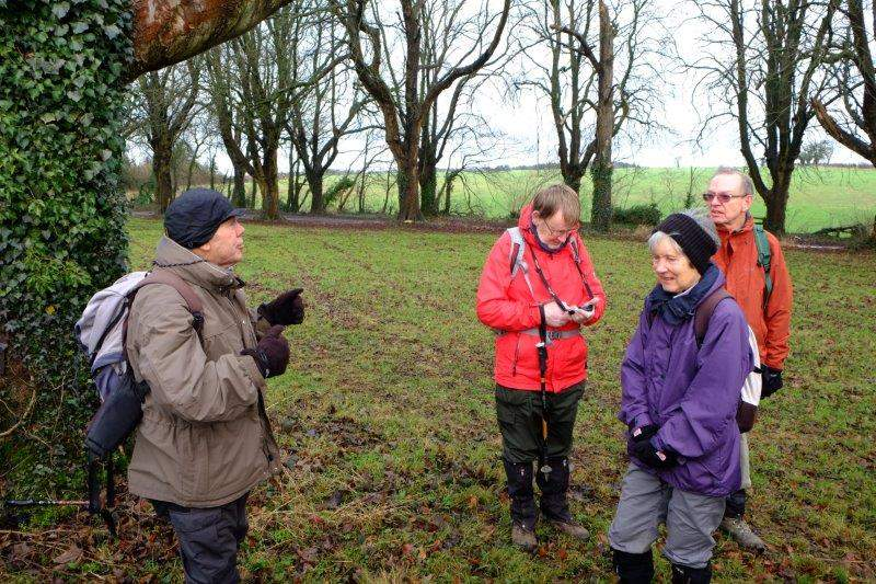 Chavenage Green. Patrick sets his GPS. Ray knows where he is going