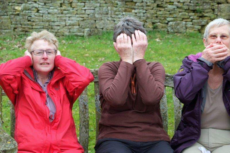 Attention seeking? - our morning break in the churchyard