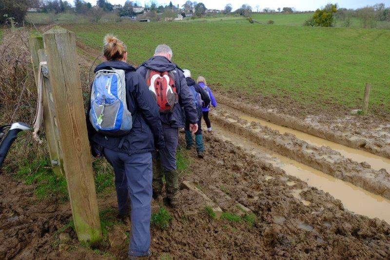 As we cross a muddy part of the Cotswold Way