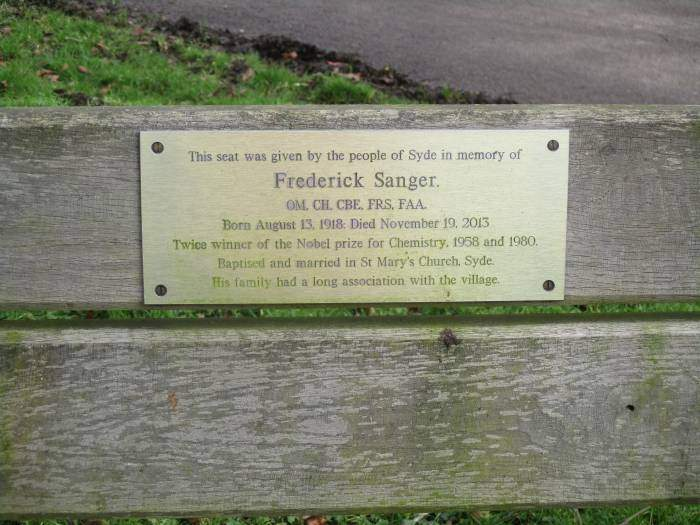 Where we pass the bench of Sanger, twice Nobel Prize winner