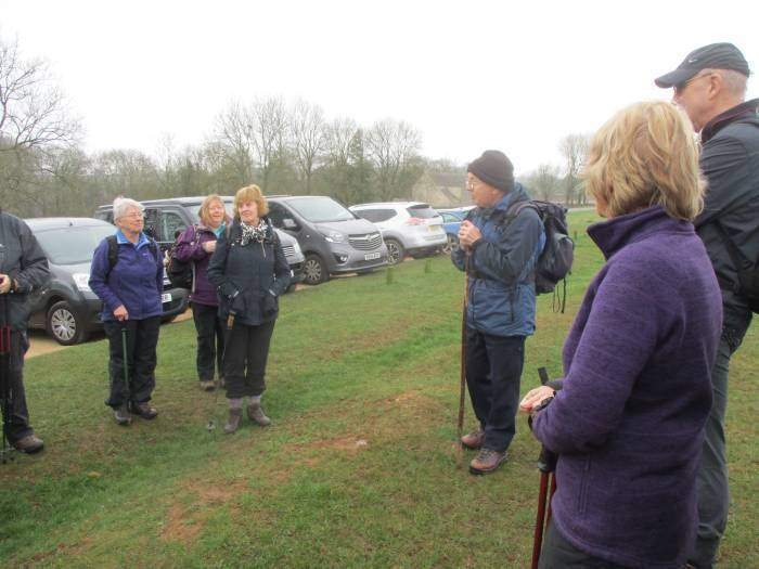 We listen to our leader, Tim, on Selsley Common