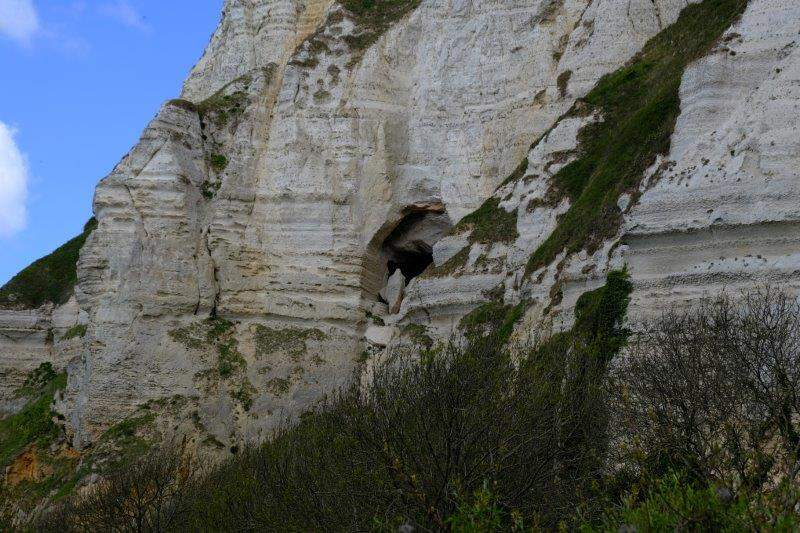 To the undercliff, an old mine up on the cliff face