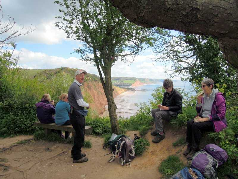 Coffee stop with views back to Sidmouth