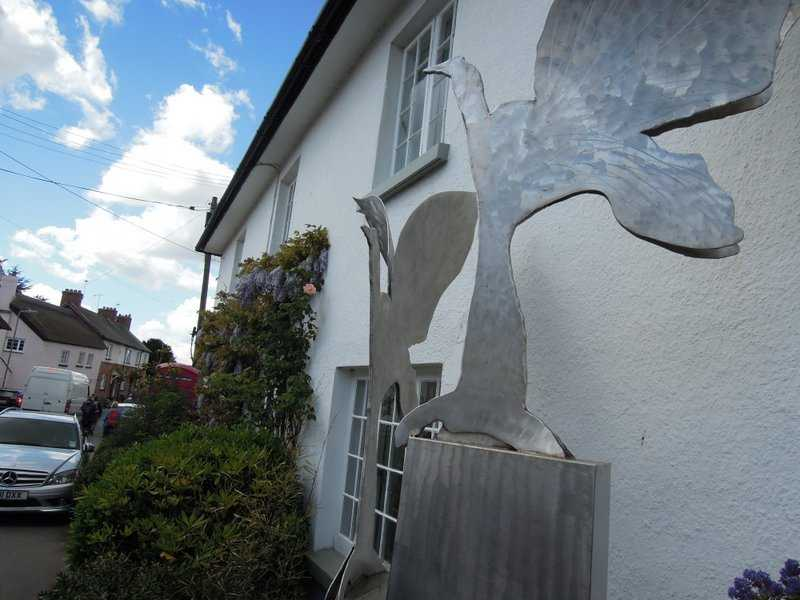 To reach Otterton. A remarkable swan sculpture