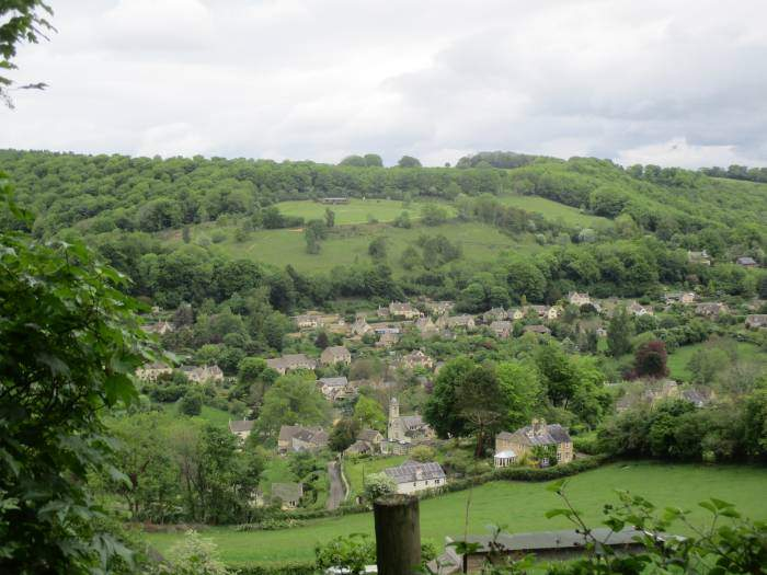 Looking back to Sheepscombe and the cricket pitch