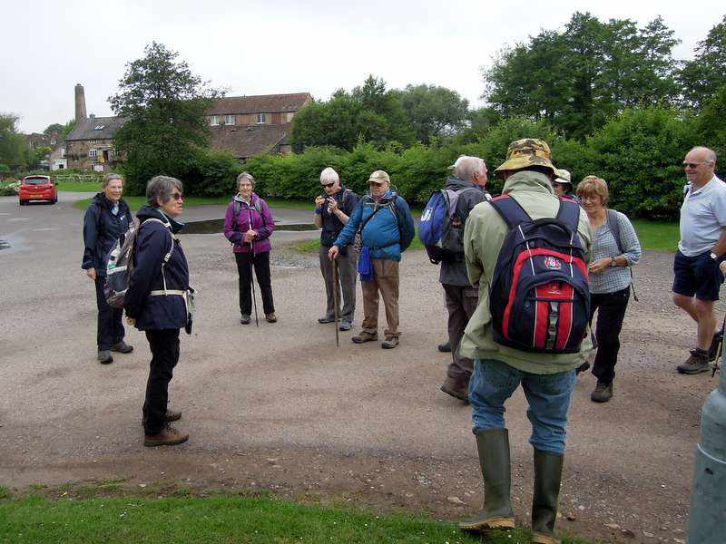 Ann welcomes the group at Fromebridge Mill
