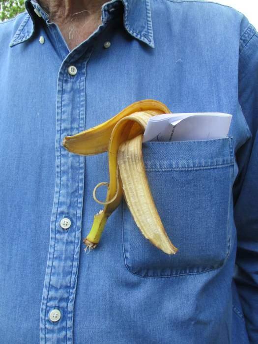 A novel way to carry one's banana skin