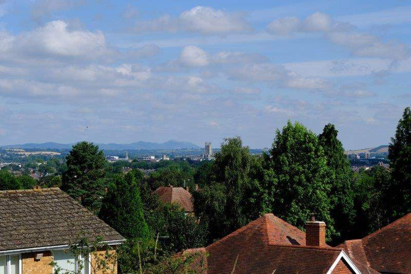 From Robinswood Hill CP we can see Gloucester Cathedral and the Malverns