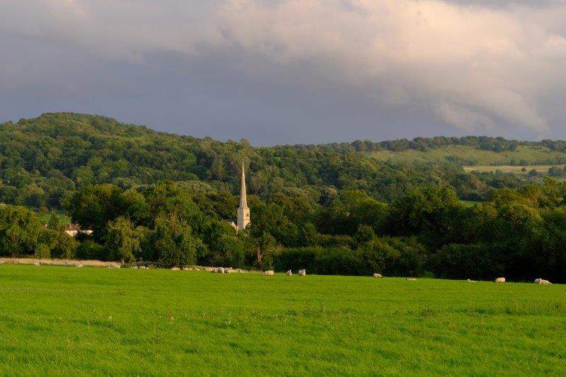 And the spire of Shurdington church comes into view