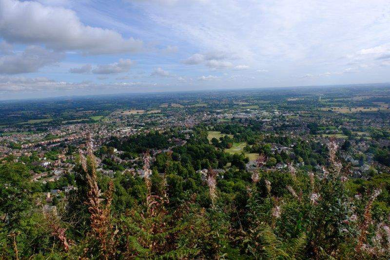 We start to climb back up looking down on Malvern with Worcester in the  distance
