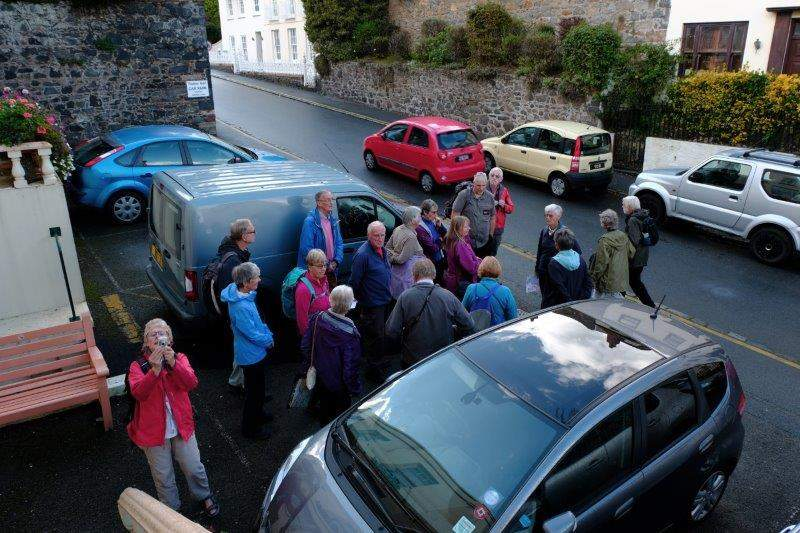Gathering outside our hotel on our arrival day for a quick walk round St.  Peter Port
