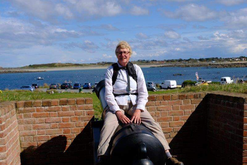Sally tries a cannon for size