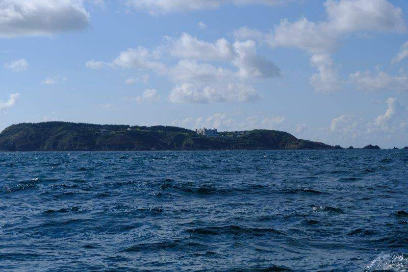 The island of Brecquhou with its large house