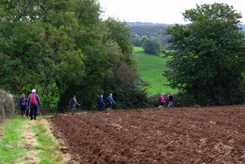 Our route takes us round the edge of a ploughed field
