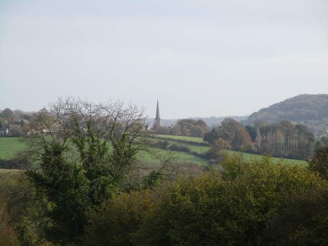 Painswick church in the distance