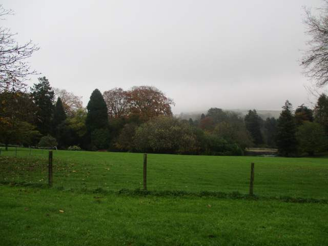 It's a murky day, with mist on the hills in the distance