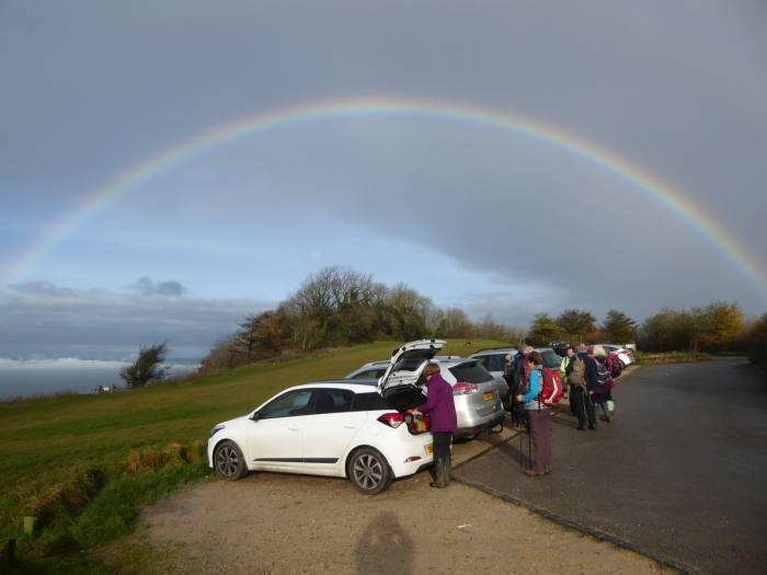 A rainbow appeared at the start of the walk*