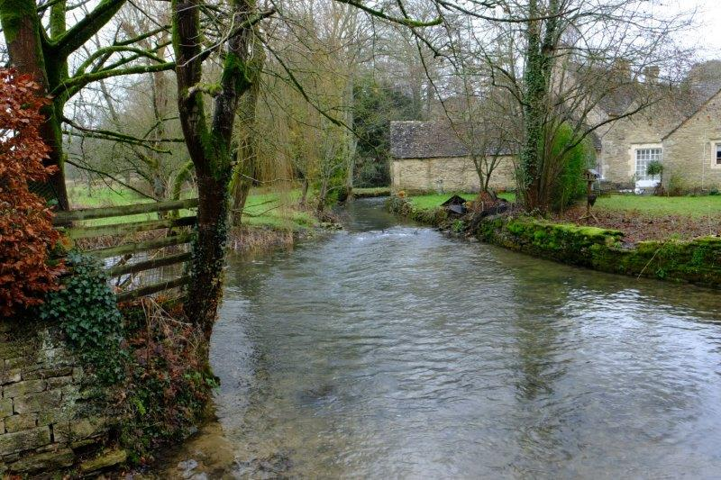 Crossing the Coln. View upstream