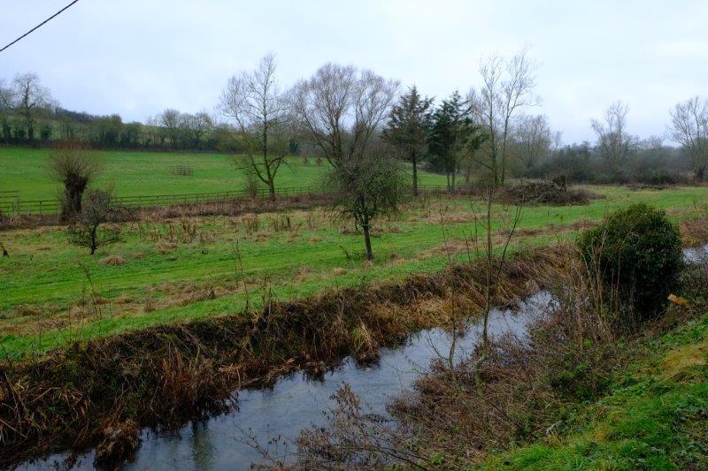 Through fields as we follow along the Coln
