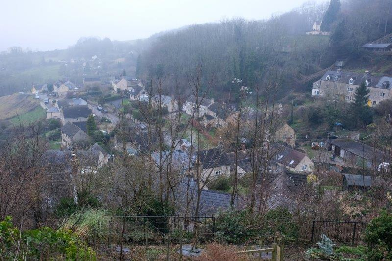 Houses sprawling down the valley