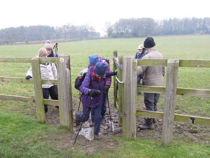 Off we go though a horse paddock, struggling with the gate