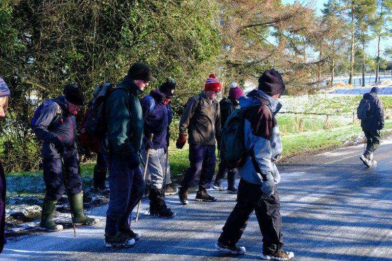 Into Winstone - gingerly crossing an icy road