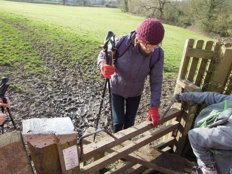 An awkward stile: no room to swing your leg and boot over!
