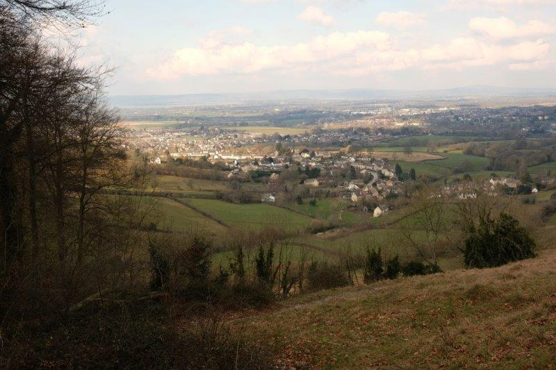 Behind us we have views across to Painswick Beacon