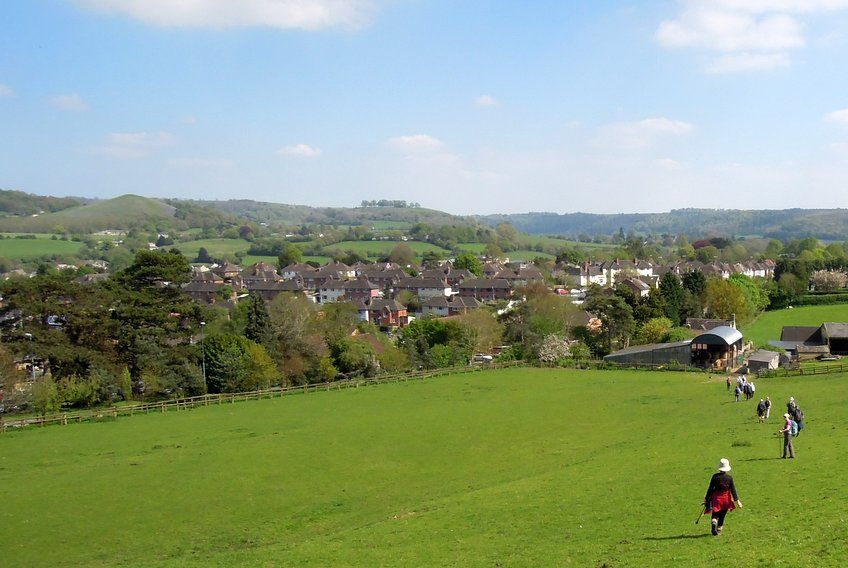 Back in Dursley with Cam Peak and Downham Hill in background after our North Nibley walk