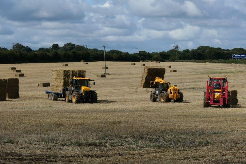 As tractors scurry around the field picking up bales